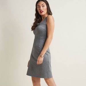 Retro Sheath Dress with Square Neckline in Heather